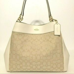 Coach Light Khaki Chalk Lexy Shoulder Handbag NWT
